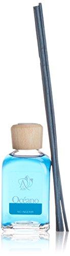 Ambientair Mikado Ambientador para Hogar, Aroma Océano, Cristal, Azul, 6 x 6 x 19 cm