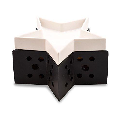 Pajoma 44156 Duftlampe Stern schwarz und weiß, Keramik/Holz, Höhe 9,5 cm -