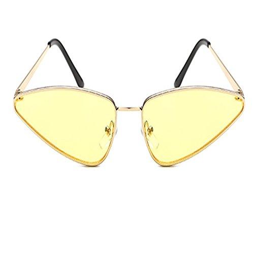 JUNHONGZHANG Sonnenbrille Persönlichkeit Dreieck Sonnenbrille Bunte Kleine Gerahmte Brille Wassertropfen Metall Sonnenbrille, D