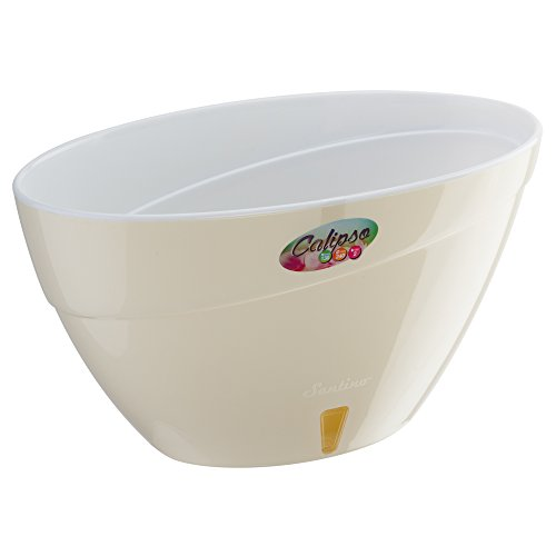 Santino Self Watering Planter CALIPSO Oval Shape L 9.4 Inch x H 5.1 Inch Cream/White Flower Pot