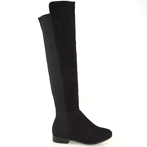 Womens Over The Knee High Elasticated Stretch Zip Tall Flat Ladies Boots...
