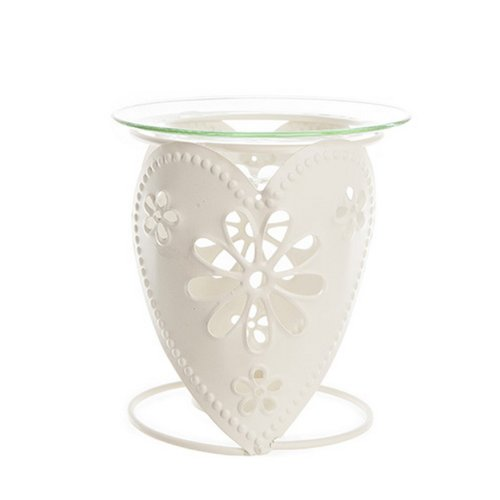Cream-Metal-Oil-Burner-Heart-Design-Fragrance-Oil-Burner