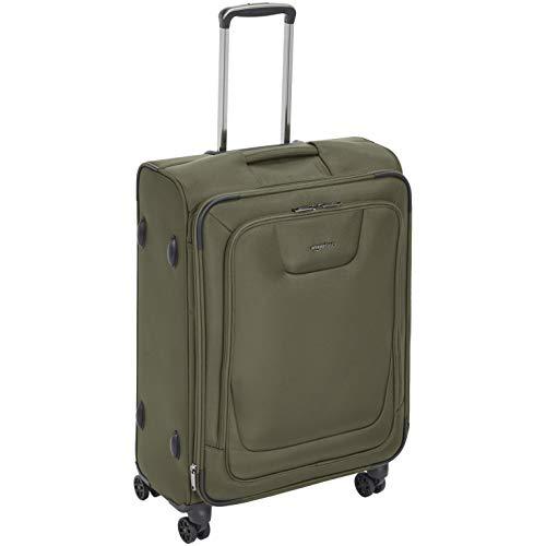 Amazonbasics, premium, valigia espandibile, morbida, con rotelle multidirezionali e chiusura tsa, 64 cm, verde oliva