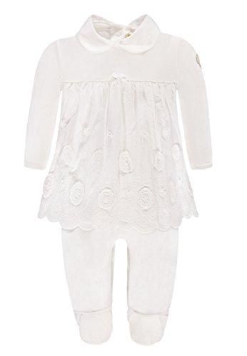 Steiff Baby-Mädchen Strampler 1/1 Arm Weiß (Cloud Dancer 1610), 56 (Herstellergröße:56) (Kleid Taufe Spitze Gestickte)