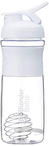BlenderBottle Sportmixer Tritan Protein + Fitness Shaker mit BlenderBall ,Weiß (Clear/White), 28oz / 820ml