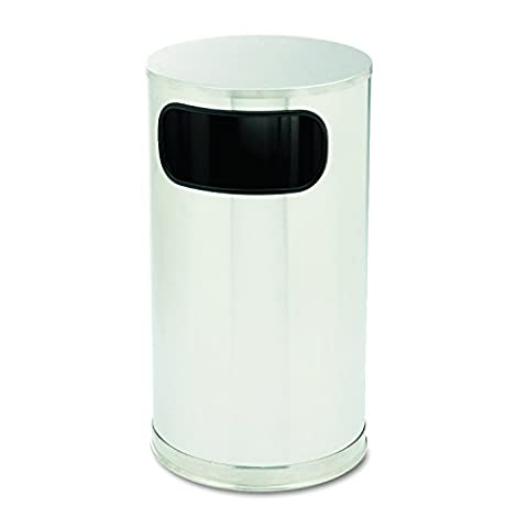 European & Metallic Side-Opening Receptacle, Round, 12gal, Satin Stainless, Sold as 1 Each