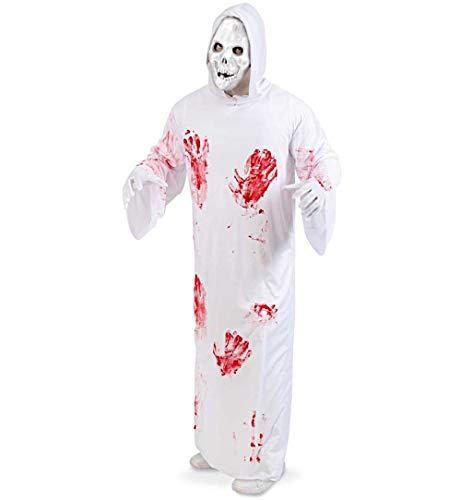 KarnevalsTeufel Herrenkostüm Bloody Reaper Weißes Gewand Blutige Handabdrücke -