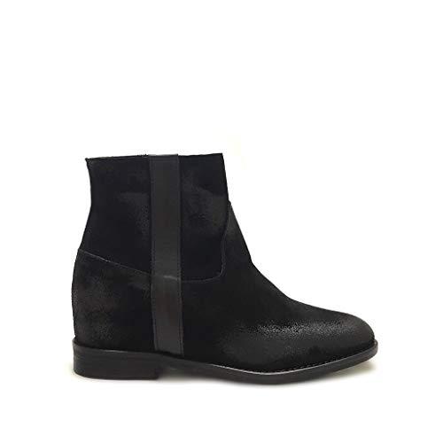 Shoe gar Stivaletti camoscio Neri con Zeppa Interna Made in Italy