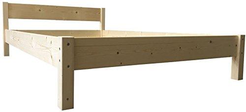 LIEGEWERK Futonbett mit Kopfteil Holz Bett massiv Holzbett 90 100 120 140 160 180 200 x 200cm, Hergestellt in BRD (100x200cm)