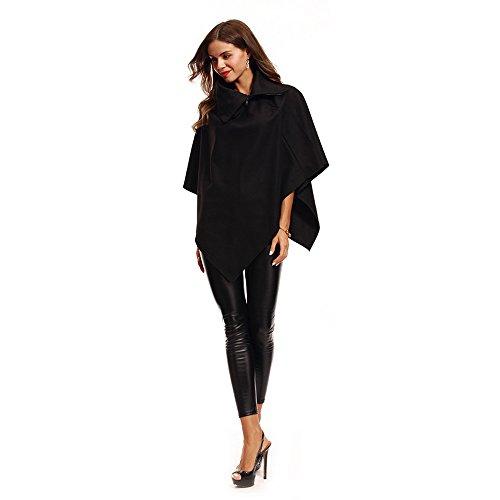 Wenyujh Femme Cape en Laine Asymétrique Col Fashion Veste Poncho Manteau Court Casual Chaud Automne Hiver Noir