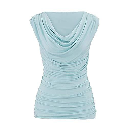 Yvelands Damen beiläufiger Rundhalsausschnitt-Pullover-Sleeveless dünnes abnehmendes T-Shirt übersteigt Bluse(CN-XL,Hellblau)