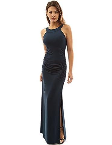 PattyBoutik Women's Crewneck Halter Side Slit Maxi Dress (Teal 14)