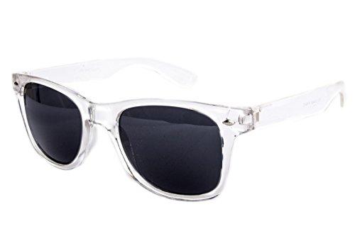 Nerdbrille Sonnenbrille Nerd Atzen Retro Vintage Brille Weiß Transparent