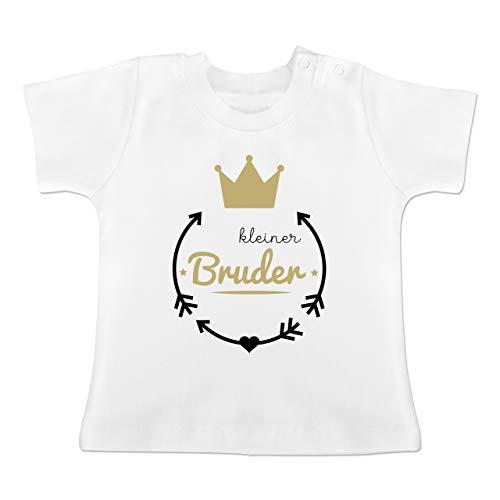 Geschwisterliebe Baby - Kleiner Bruder - Krone - 3-6 Monate - Weiß - BZ02 - Baby T-Shirt Kurzarm -
