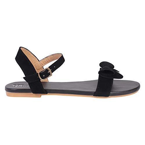 NS STYLE Women's Casual Flat Sandal Black