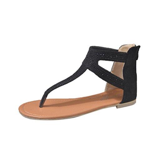 Omiky® Frauen Damen Diamant Reißverschluss Gladiator Low Flachen Flip Flops Strand Sandalen Böhmen Schuhe (37, Schwarz) - Diamant Flip-flop-sandale