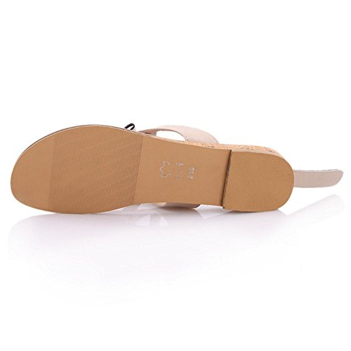TAOFFEN Femme Mode A Enfiler Sandales Slingbacck Chaussures Appartements Beige