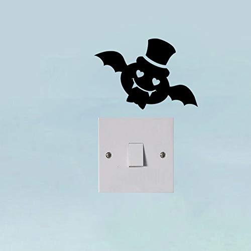 WALSTICKEL Wandtattoos Süße Liebe Fledermaus Monster Halloween Vinyl Aufkleber Aufkleber Wand Dekor Schalter, Schwarz (Sprüche Fledermaus Halloween)