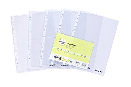 perfect line 100 transparente Sammel-Hüllen A4, 2-geteilte glasklare Prospekthüllen, auf 2 Fächer geteilt (DIN A5-quer), farblose Klarsicht-Folie mit Einschub links