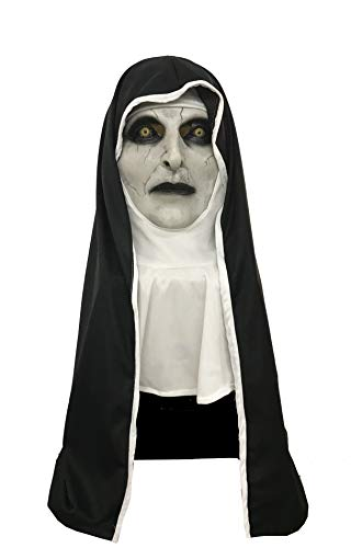 Voller Kostüm - Evere Halloween The Nun Maske Film Cosplay Kostüm Latex Voller Kopf Zubehör für Erwachsene Kleidung Verrücktes Kleid Waren