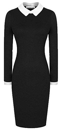 -Peter Pan Kragen Long Bodycon Midikleid 48-50 Black (Wednesday Addams Kleid)