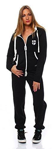 Hoppe Damen Jumpsuit Jogger Einteiler Jogging Anzug Trainingsanzug Overall (L, Schwarz)