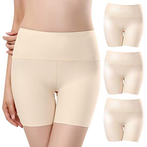 UMIPUBO Panties Nahtlose Unterhose Damen Unsichtbar Boyshort Slip Kurz Hose Schlüpfer Light Elastisch Unterwäsche Leggings 3er Pack (Boyshort Aus Seide)