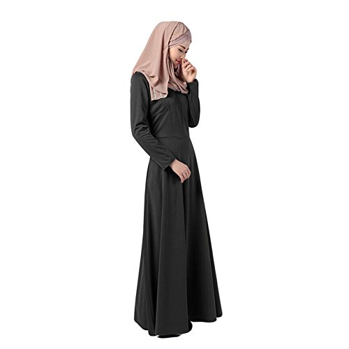 Zhuhaixmy Muslim Damen Kaftan Abaya Kleid Islamic Lange Ärmel Baumwolle Maxi Kleid Malaysia Bekleidung Arab Robes Black