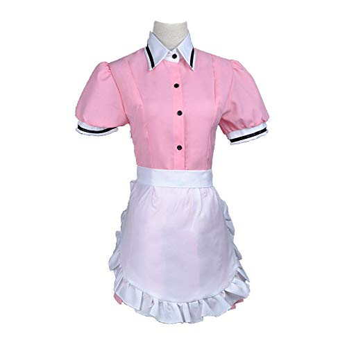 Maid Rosa French Kostüm - Memory meteor Halloween Erwachsene Frauen Damen Schürze Maid Kleid Kostüm Cosplay Dress up Outfit Kit,Rosa,XS