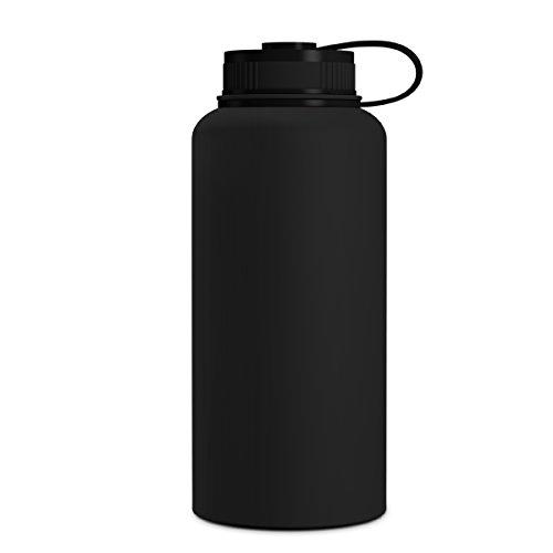 Geo Sport-Wasserflasche, doppelwandig, vakuumisoliert, Edelstahl, auslaufsicher, breite Öffnung, BPA-freier Schraubverschluss, schwarz