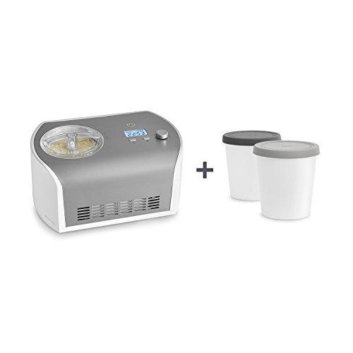 Eismaschine Elli 1,2 L mit selbstkühlendem Kompressor 135 Watt von Springlane Kitchen Ice-Cream-Maker aus Edelstahl mit Abschaltautomatik, entnehmbarem Eisbehälter, Antihaftversiegelung & LCD Display