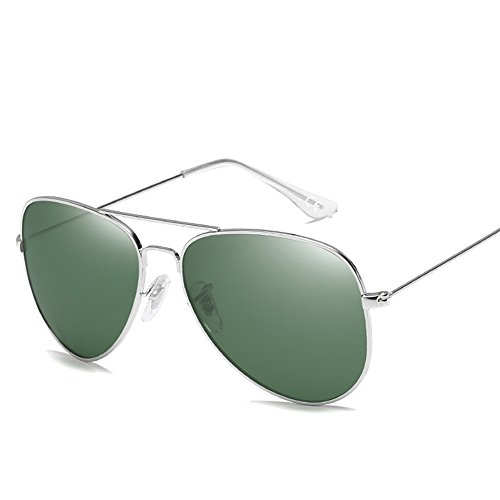 VeBrellen Lente Antirreflejante Completo Aviador UV400 Gafas de Sol AS001 (Silver Frame...
