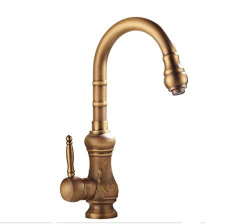 DYR Wasserhahn Wasserhahn Alle Bronze Küchenspüle Auf Dem Becken Warm Und Kalt Geschnitzt Kann Gedreht Werden Waschen Gemüsetöpfe Führen