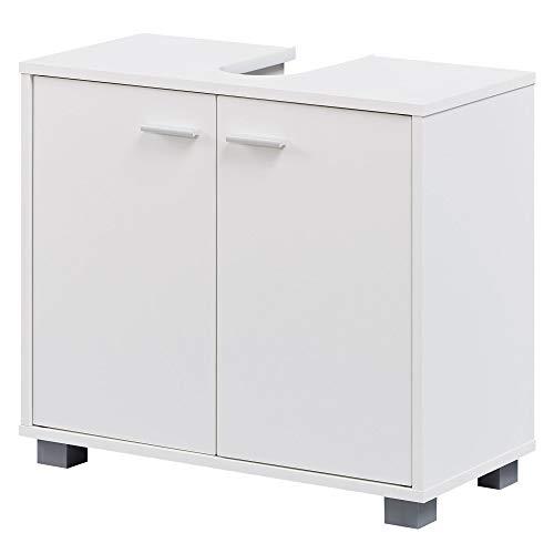 FineBuy Design Waschbeckenunterschrank FB37117 Badunterschrank mit 2 Türen Weiß | Kleiner Schrank Badezimmer 60 cm Breit | Badschrank Waschbecken Stehend | Bad Aufbewahrung | Waschtischunterschrank -