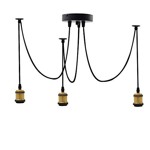 3 Kopfkabel (je 95cm Draht) Klassischer Lampenhalter, DIY Kronleuchter-Zubehör, E27 Retro-Kronleuchter Lampenhalter, Cluster-Lichter, Spinnenlüster (ohne Glühlampen) (Bronze) -