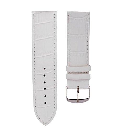 Echtes Leder Uhrenarmband,Moonuy Männer 18mm Qualitäts-weicher Schweißband echtes Leder-Bügel-Stahlwölbungs-Armbanduhr-Band (Weiß) - Weiß Uhrenarmbänder