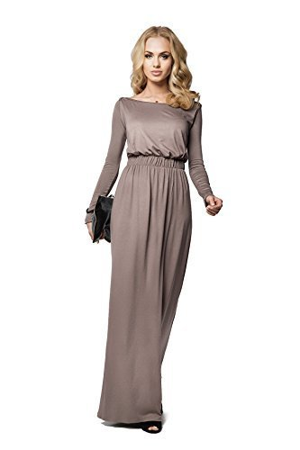 FuturoMode Elegant Empire Maxi Kleid Gesamtlänge U-boot-ausschnitt Langärmlig Cocktail Style Offen Halsausschnitt Größe eu 36-46 UK FM08 - Cappuccino, 36