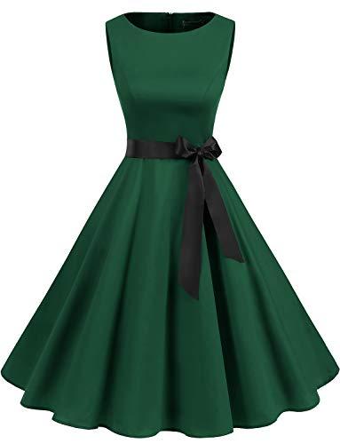 Gardenwed Damen 1950er Vintage Cocktailkleid Rockabilly Retro Schwingen Kleid Faltenrock Dark Green L (Burlesque Grüne Kostüm)