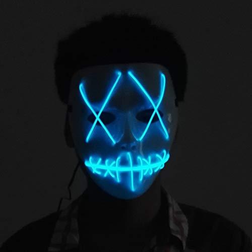Halloween LED Maske, Niedliche Lustige Maske Elvis Kostüm Maske, Kostüm Party Fashion Show Dekoration Maske, Für Cosplay Männer Frauen, Batteriebetrieben (Nicht Im Lieferumfang Enthalten),Blau (Kostüm Fashion Show)