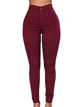 La Mujer Casual Skinny Cintura Alta Ajustada Pancil Pantalones Pantalones De Longitud Completa