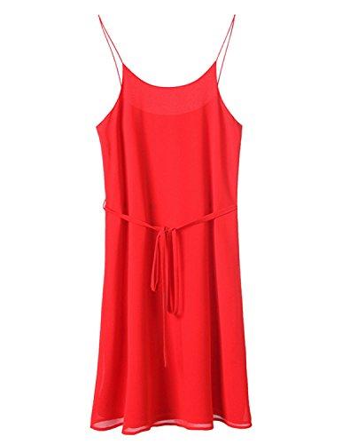 ... MODETREND Damen Kleid Elegant Chiffon Schlinge Sommerkleid Strandkleid  Ballkleid Partykleid Rot ...