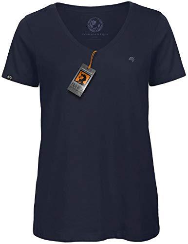 COMPANIEER BAC TW045 Damen Bio-Baumwolle V-Neck-Kragen-Ausschnitt T-Shirt Blau Navy Organic Cotton Größe XL- OHNE Brustlogo - Jersey Double V-neck