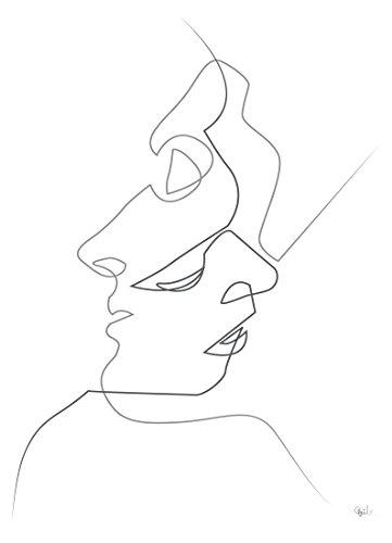 """JUNIQE® Leinwandbild 60x90cm Schwarz & Weiß Paare - Design """"Close on White"""" (Format: Hoch) -..."""