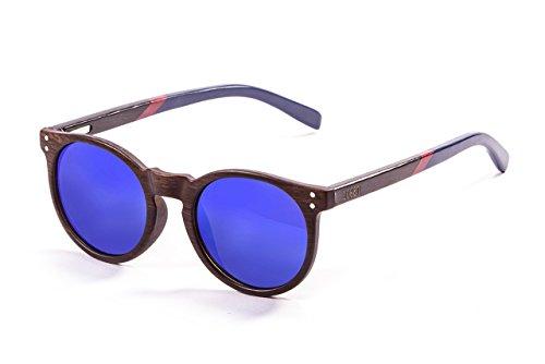 Ocean Sunglasses Lizard, Occhiali da Sole, Colore: Bambù Scuro/Montatura/Legno Scuro Blu/Rosso Aste Lenti Revo Blu