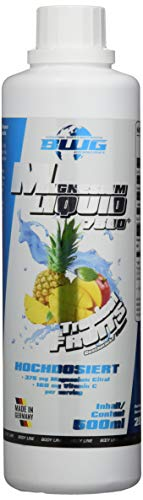 BWG Magnesium Liquid 7500, + Vitamin C, 375 mg Magnesium hochdosiert, Tropical Fruits, 500 ml