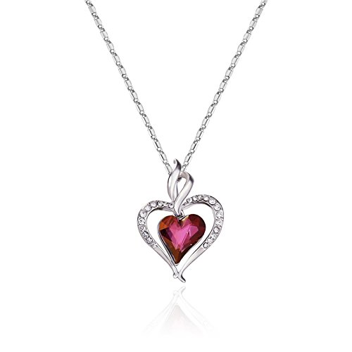 Ananth Jewels Swarovski Elements Pink Crystal Rhinestone Heart Shaped Pendant For Women