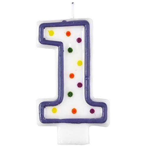 Vela de cumpleaños número 1, diseño con lunares, 7,5 cm, de Amscan (9900775)