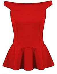 Fast Fashion - Top Encolure Bateau Sans Manches Peplum Jabot Plaine Patineur - Femmes