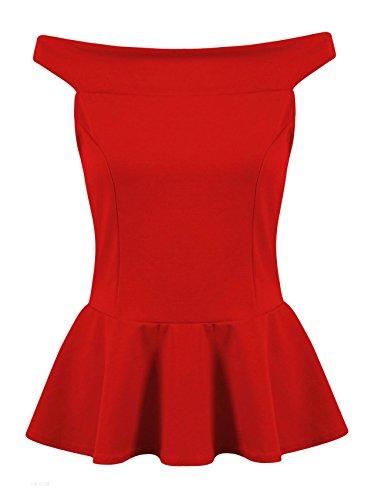 Fast Fashion - Top Encolure Bateau Sans Manches Peplum Jabot Plaine Patineur - Femmes Rouge