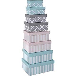 Paper Collection Ameublement Accessoires Décoratifs Contenants Organisation Ensemble de 8 Boîtes de Rangement en Carton avec Couvercle Style Lignes et Croix Multicolores Différentes Tailles